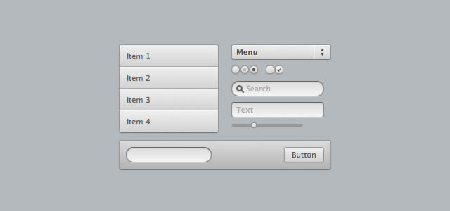 small set of CSS3 UI elements includes Menus, form elements and buttons