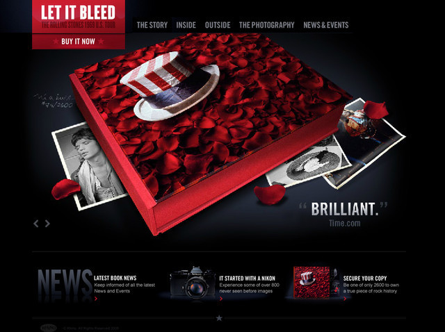 example of a web site with dark color scheme Let it Bleed