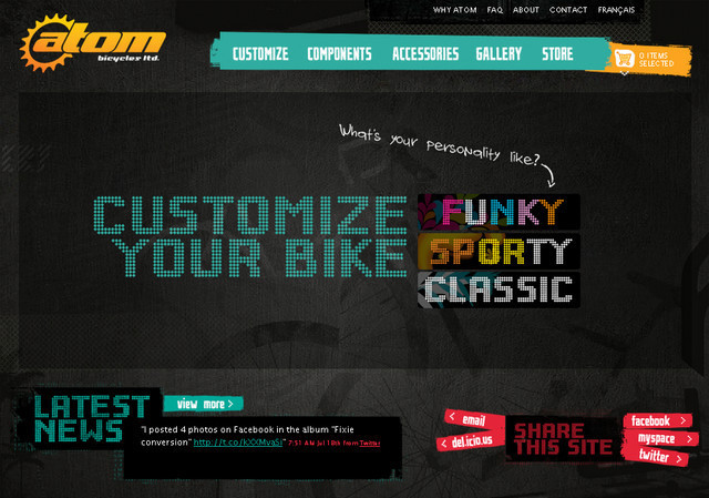 creative site with a blabk grey dark layout Atom Bicycle Ltd