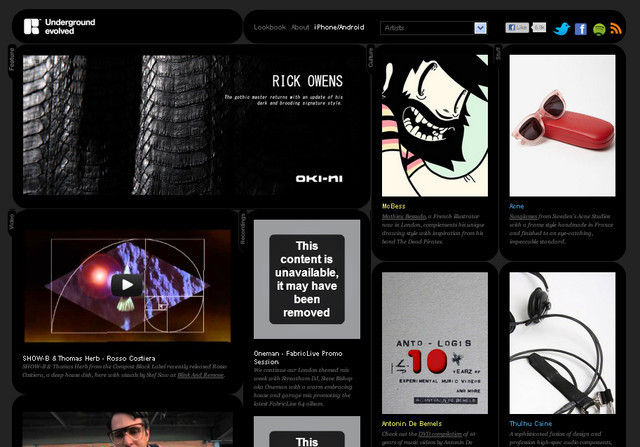 example of a web site with dark color scheme Underground Evolved