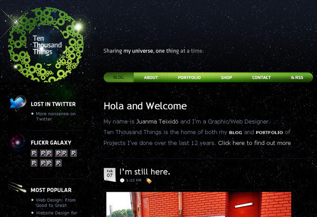 example of a web site with dark color scheme Ten Thousand Things