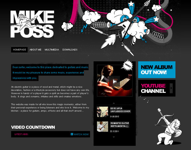 creative site with a blabk grey dark layout Mike Poss