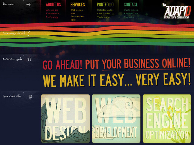 example of a web site with dark color scheme AdaptD