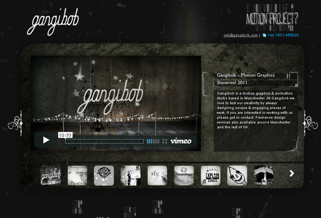 example of a web site with dark color scheme Gangibob