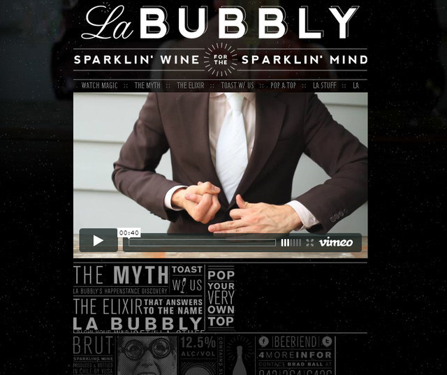 example of a web site with dark color scheme La Bubbly