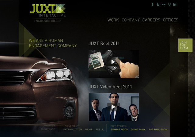 example of a web site with dark color scheme JUXT Interactive