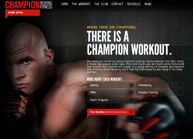 creative site with a blabk grey dark layout Champion Boxing Fitness