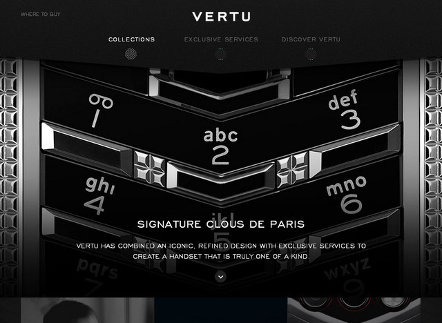 creative site with a blabk grey dark layout Vertu