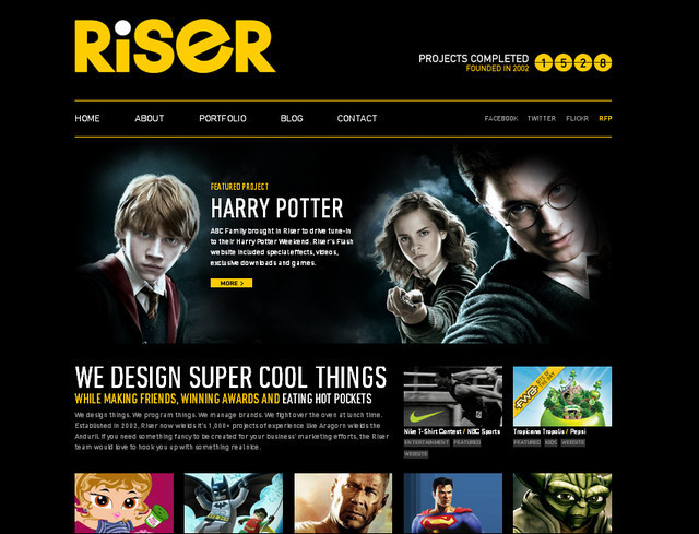 example of a web site with dark color scheme Riser