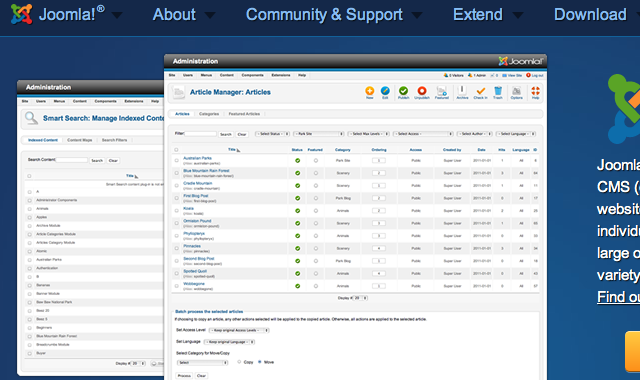 Joomla! home page site layout design