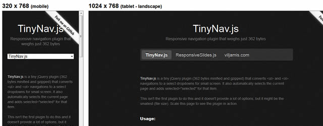 TinyNav.js navigations to a select dropdowns for small screens