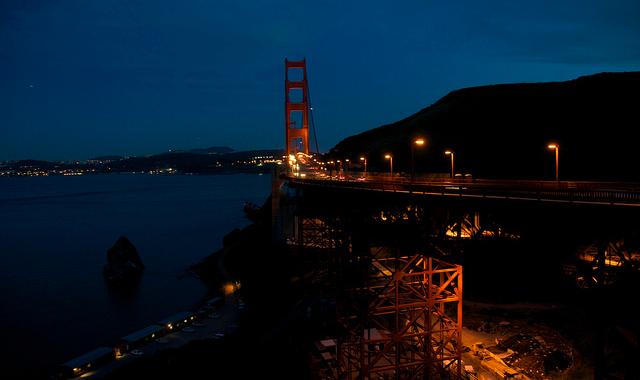 Dark night GGB aside San Francisco - California, USA