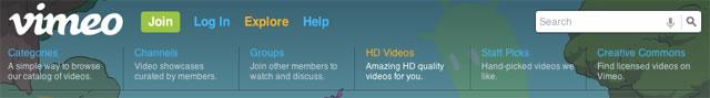 the subtle ui Vimeo's menu