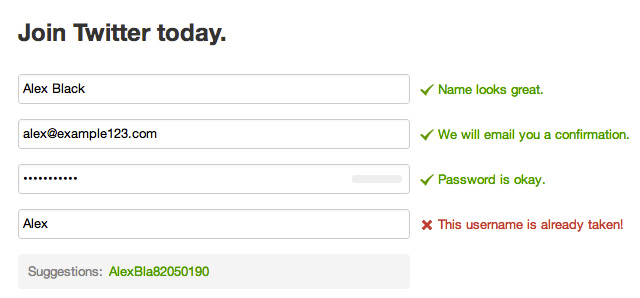Twitters new user signup