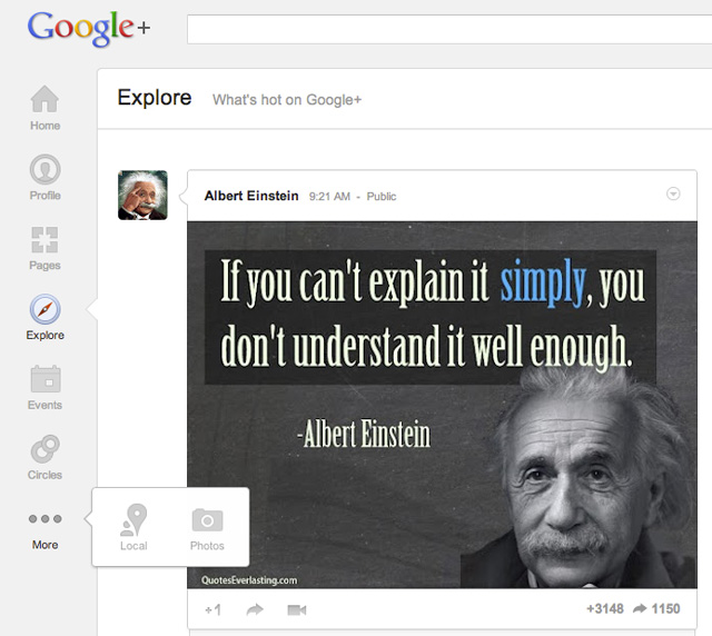 Google+ side navigation