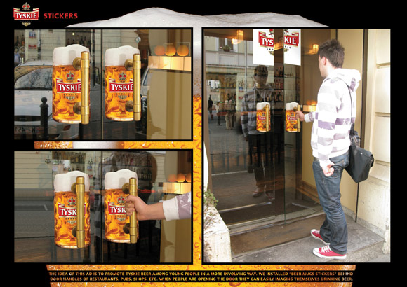 Tyskie-Stickers humourous ads beer imaginative funny