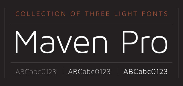 Maven is a Free web print Font for titles and headlines