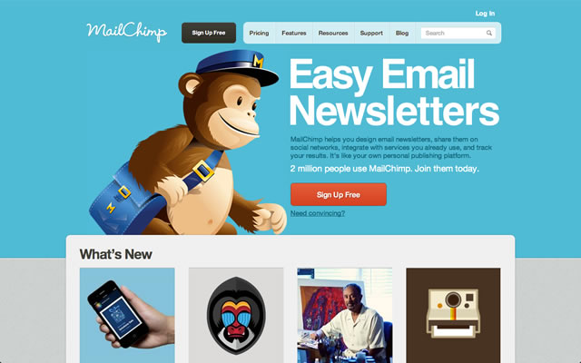 MailChimp as best bootstrapped startup landing pages