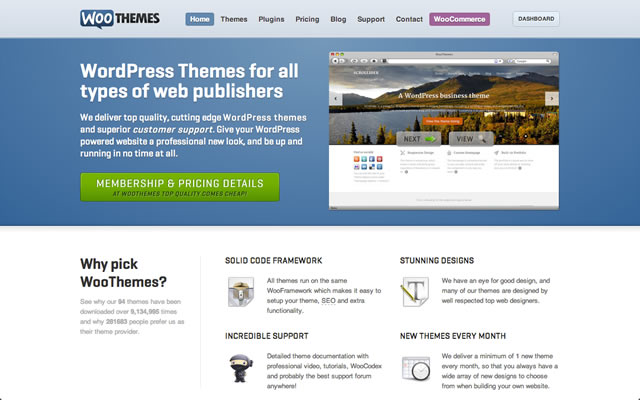 Woothemes as best bootstrapped startup landing pages