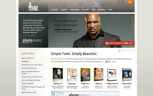 Alien Skin Software as an example of a well designed landing pages