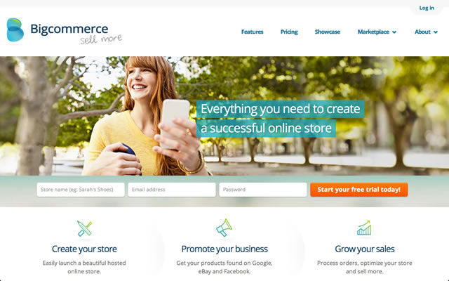 BigCommerce as best bootstrapped startup landing pages