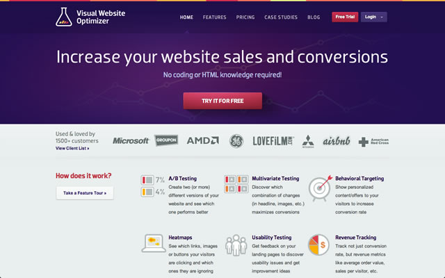 Visual Website Optimizer as an example of a well designed landing pages