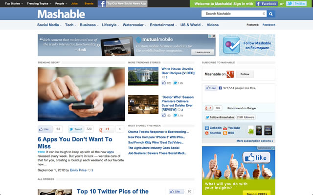 Mashable as best bootstrapped startup landing pages