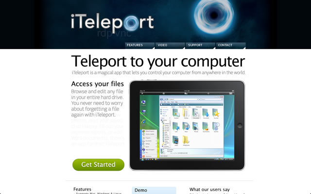 iTeleport as an example of a well designed landing pages