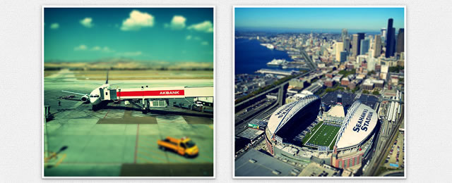 tiltShift.js is an awesome jQuery plugin that uses the CSS3 image filters