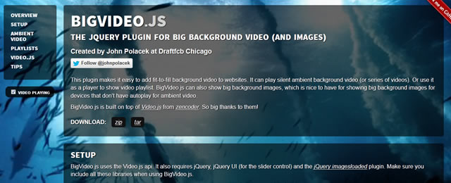 BigVideo.js makes it easy to add fit-to-fill background video to your website