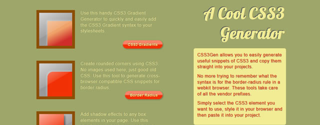 CSS3Gen Generate Useful Snippets of CSS3 Web-Based Apps