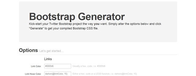 Bootstrap Generator is a Twitter Bootstrap Generator