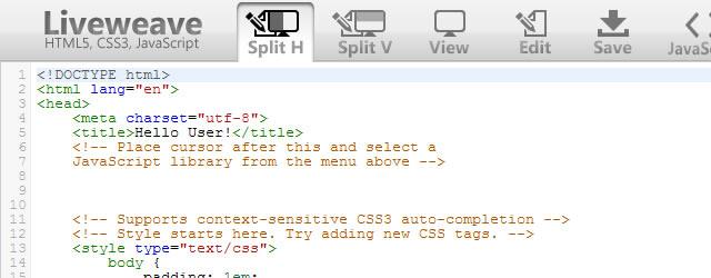 Liveweave HTML5, CSS3 & JavaScript Playground
