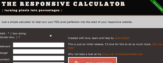RWD Calculator is a Turning Pixels into Percentages