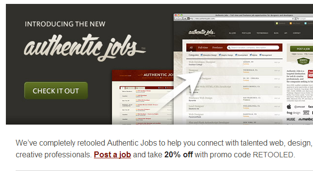 Authentic Jobs email newsletter