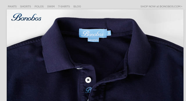 Bonobos email newsletter store shopping design