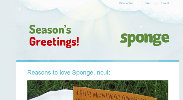 Sponge seasons greetings Christmas holiday email