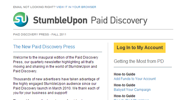 StumbleUpon discovery newsletter design