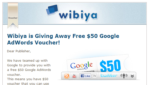 Wibiya web publisher email newsletter