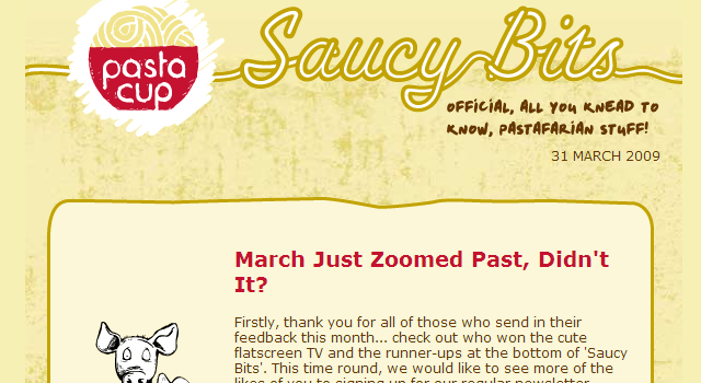 Saucy Bits yellow Campaign Monitor email