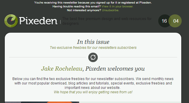 Pix Eden freebie newsletter dark design
