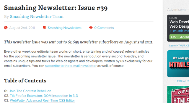SmashingMag email newsletter in browser design