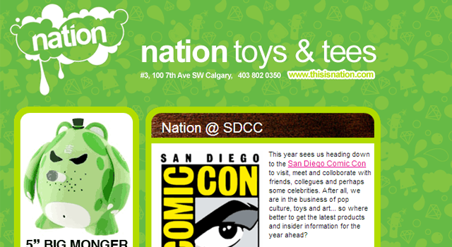 email newsletter Nation toys and tees green design