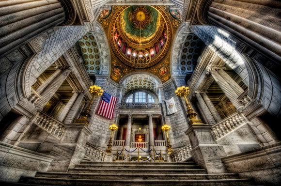 RI State House is a fantastic example of Architectural hdr Photography