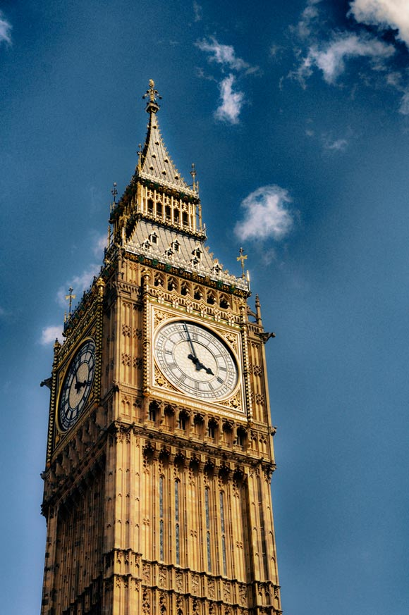 The Clock of Westminster is a fantastic example of Architectural hdr Photography
