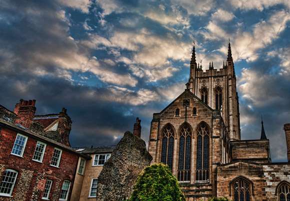Bury St. Edmunds Cathedral is a fantastic example of Architectural hdr Photography