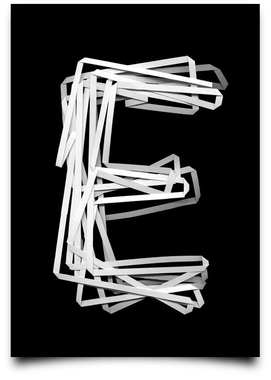 the letter e alphabetical type illustrations simply by putting scalpel to paper