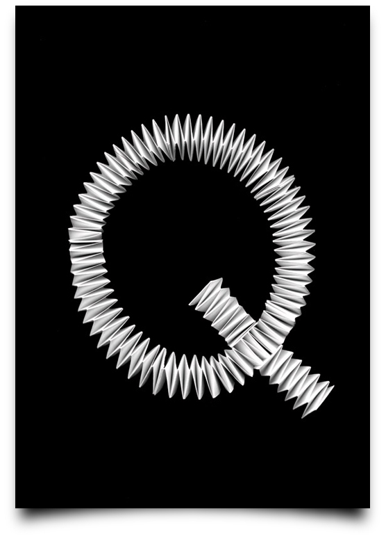 the letter q alphabetical type illustrations simply by putting scalpel to paper