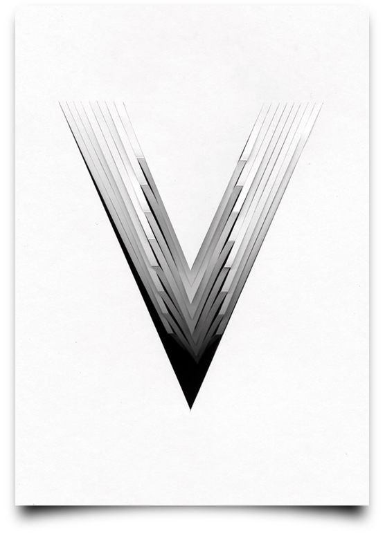 the letter v from the creative Type Scan Alphabet