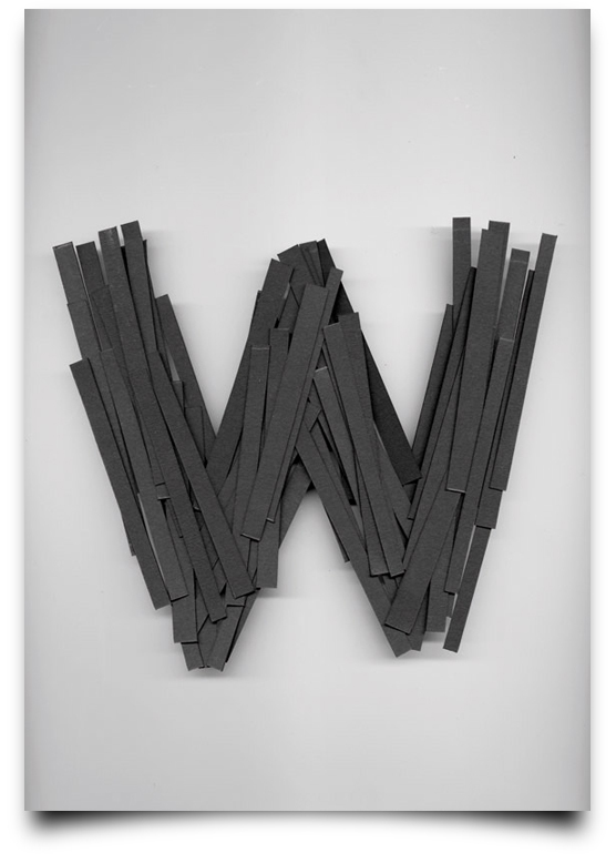 the letter w alphabetical type illustrations simply by putting scalpel to paper